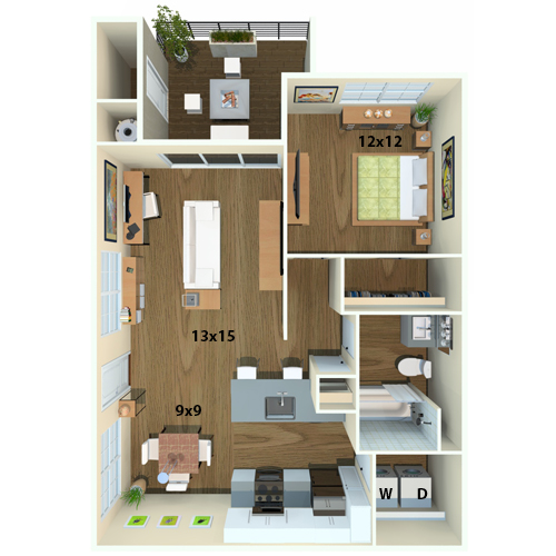 1 Bedroom Floor Plan Diagram   Apartments For Rent In San Jose, CA   Newport